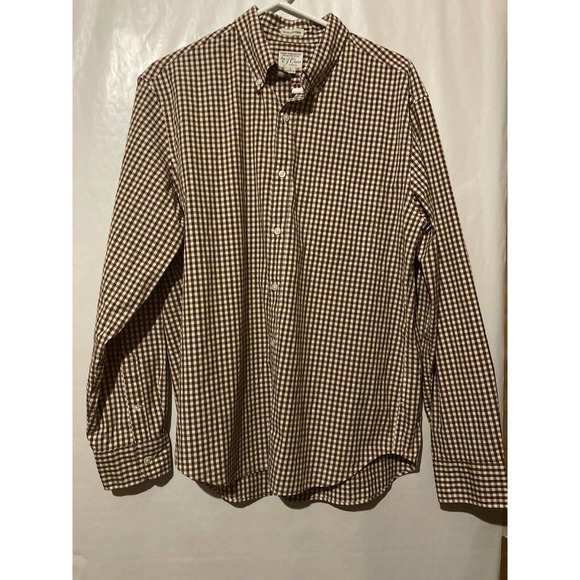 J. Crew Size LARGE Red Creamy White Plaid Button F